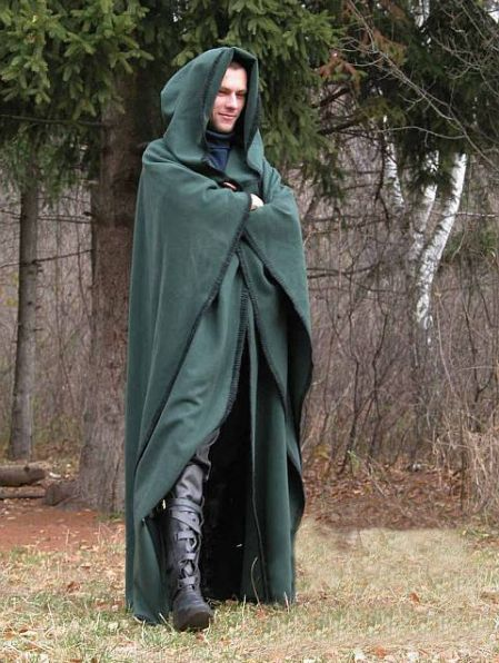 a2f6074ae1 Green Wool Medieval Hooded Cloak for Men