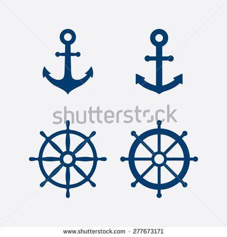 7cdb8d238 Anchors and steering wheel / ship wheel icons set - Nautical symbols. Vector  illustration - stock vector