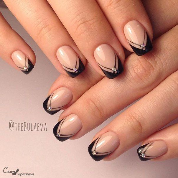 glam spin on french nails nailart black + rhinestone - Pin By Ксения Мотузова On Маникюр Pinterest Manicure, Makeup And