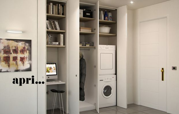 L\'armadio a muro per nascondere lavanderia, ripostiglio, guardaroba ...