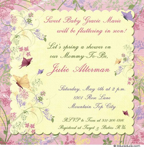 butterfly invitation wording