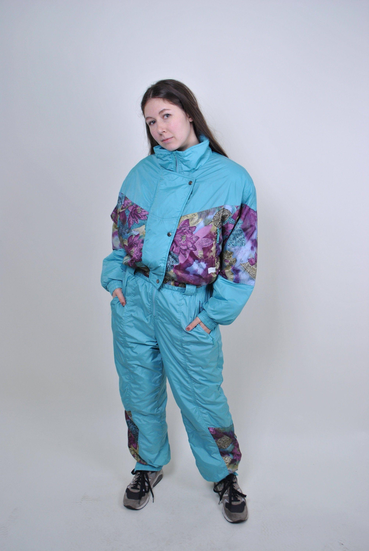 Vintage Blue Flowers Ski Suit 90s Floral Snow Suit Women