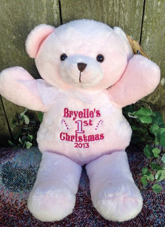 Personalized baby gift pink teddy bear birth announcement babys first christmas personalized baby gift pink teddy bear by worldclassembroidery 2699 negle Images