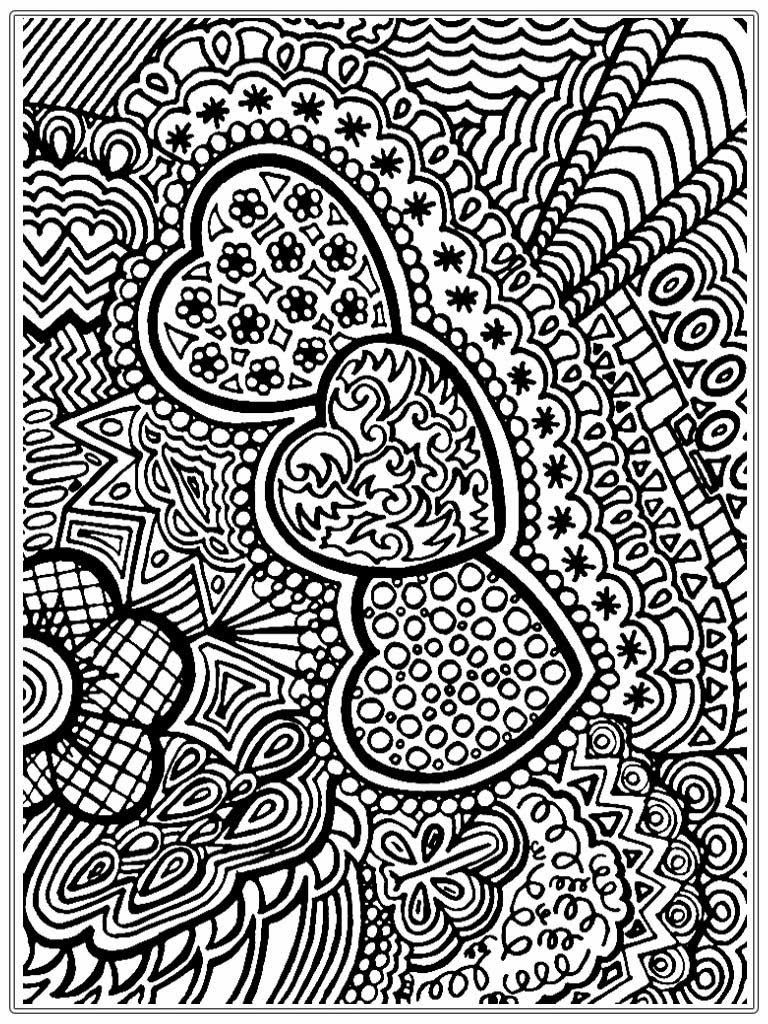 free printable flower wreath adult coloring page Heart Pictures