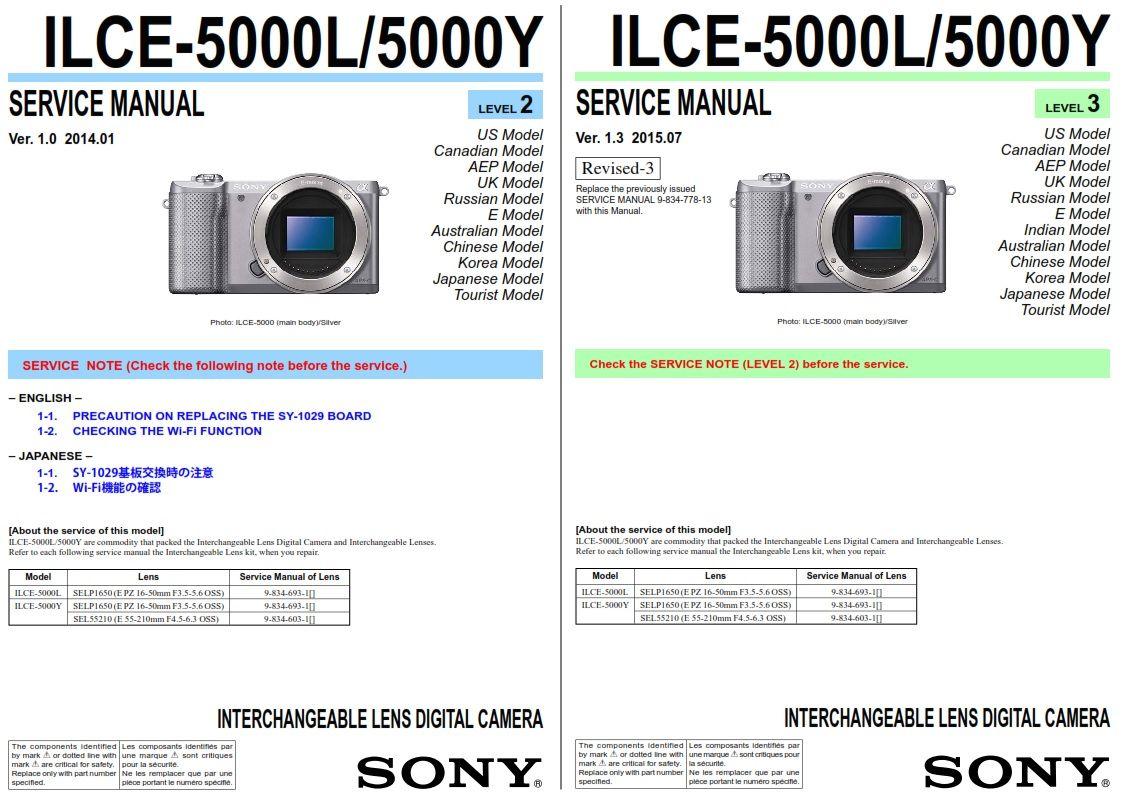 Sony Alpha Alpha A5000 Ilce 5000l 5000y Digital Camera Service