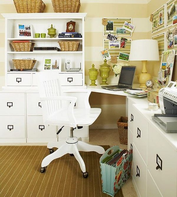 Space Saving Built In Office Furniture In Corners: Space Saving Home Office Furniture White Cabinets Shelves