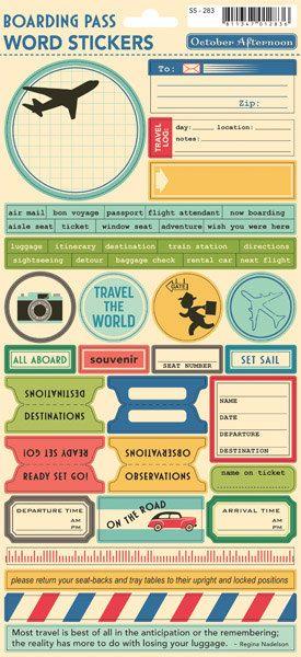 October Afternoon Boarding Pass Word Stickers | Reisetagebuch ...