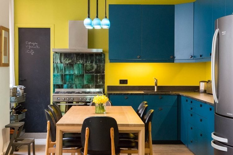 Cuisine Bleue Et Jaune Cuisine Jaune Cuisine Appartement Couleur Cuisine