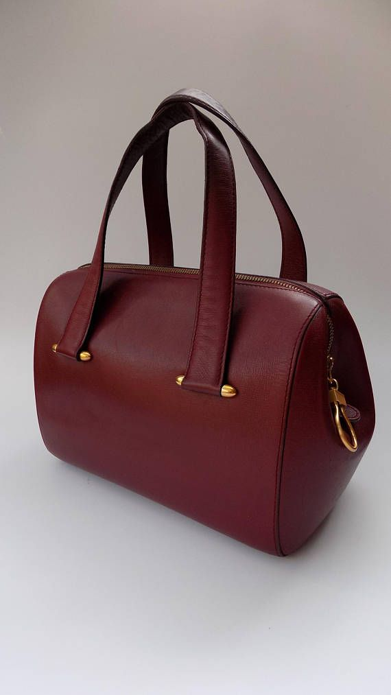 33b72ae3f CARTIER Must de Cartier Vintage Burgundy Leather Bowling Bag. French ...