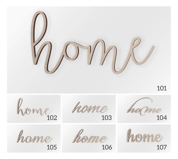 Home Wood Word Scroll Cut Word Home Sign Home Cutout Cursive