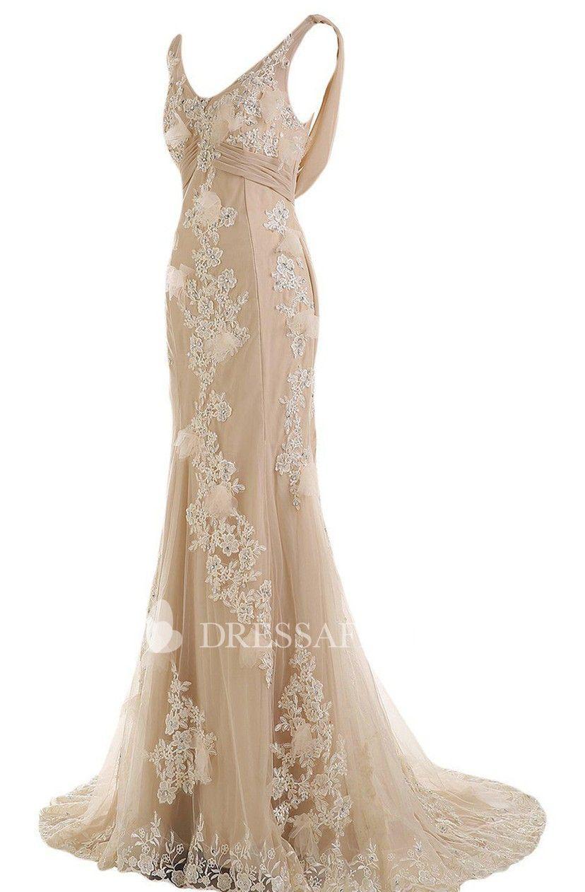 Mermaid V-neck Tulle Appliqued Dress With Deep-V Back And ...
