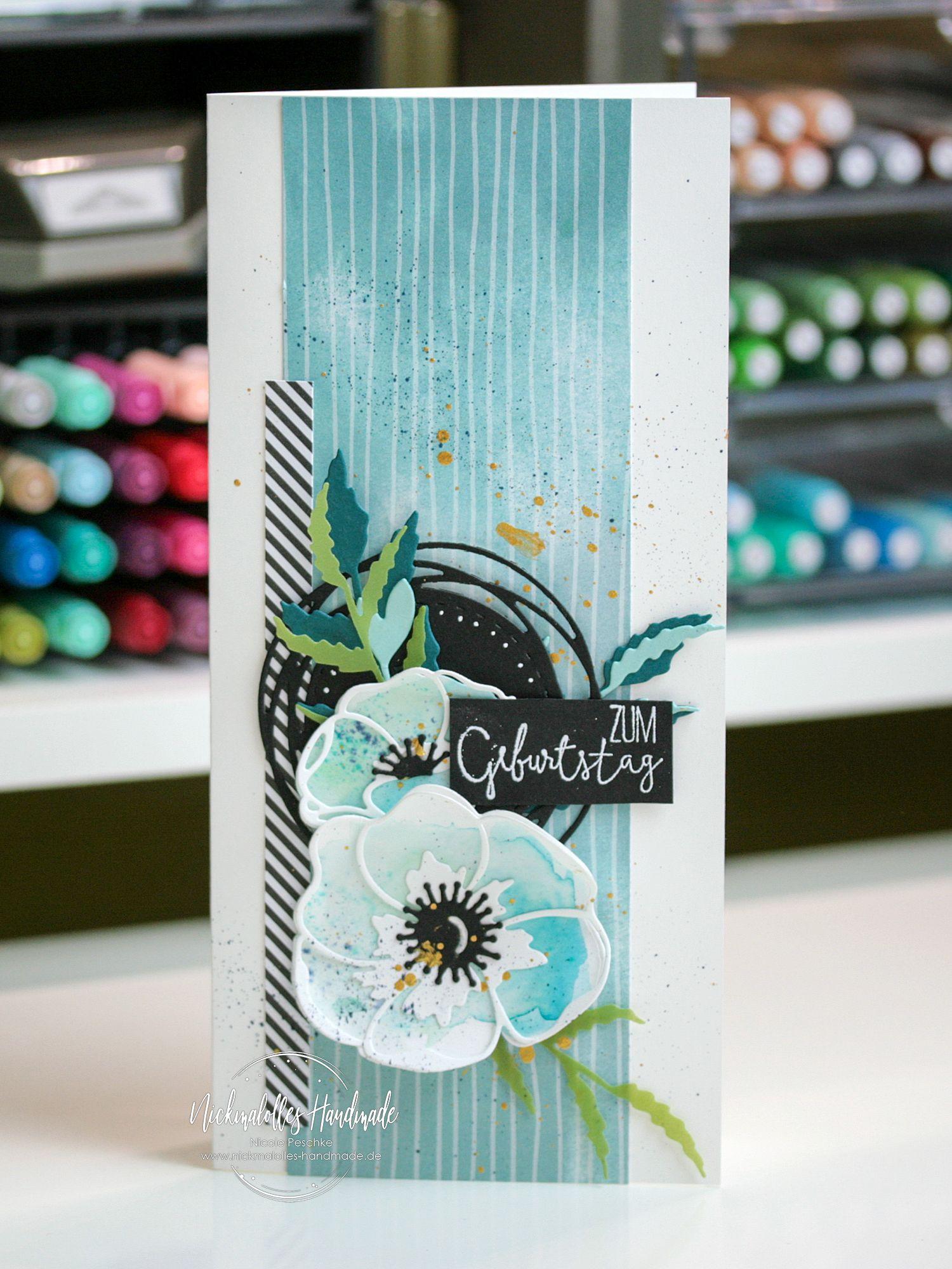 Photo of Geburtstagskarte Painted Poppies