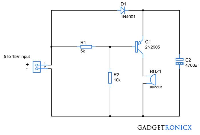 power failure alarm circuit without individual power supply rh pinterest com Buzzer Internal Circuit Diagram Arduino Buzzer Circuit Diagram