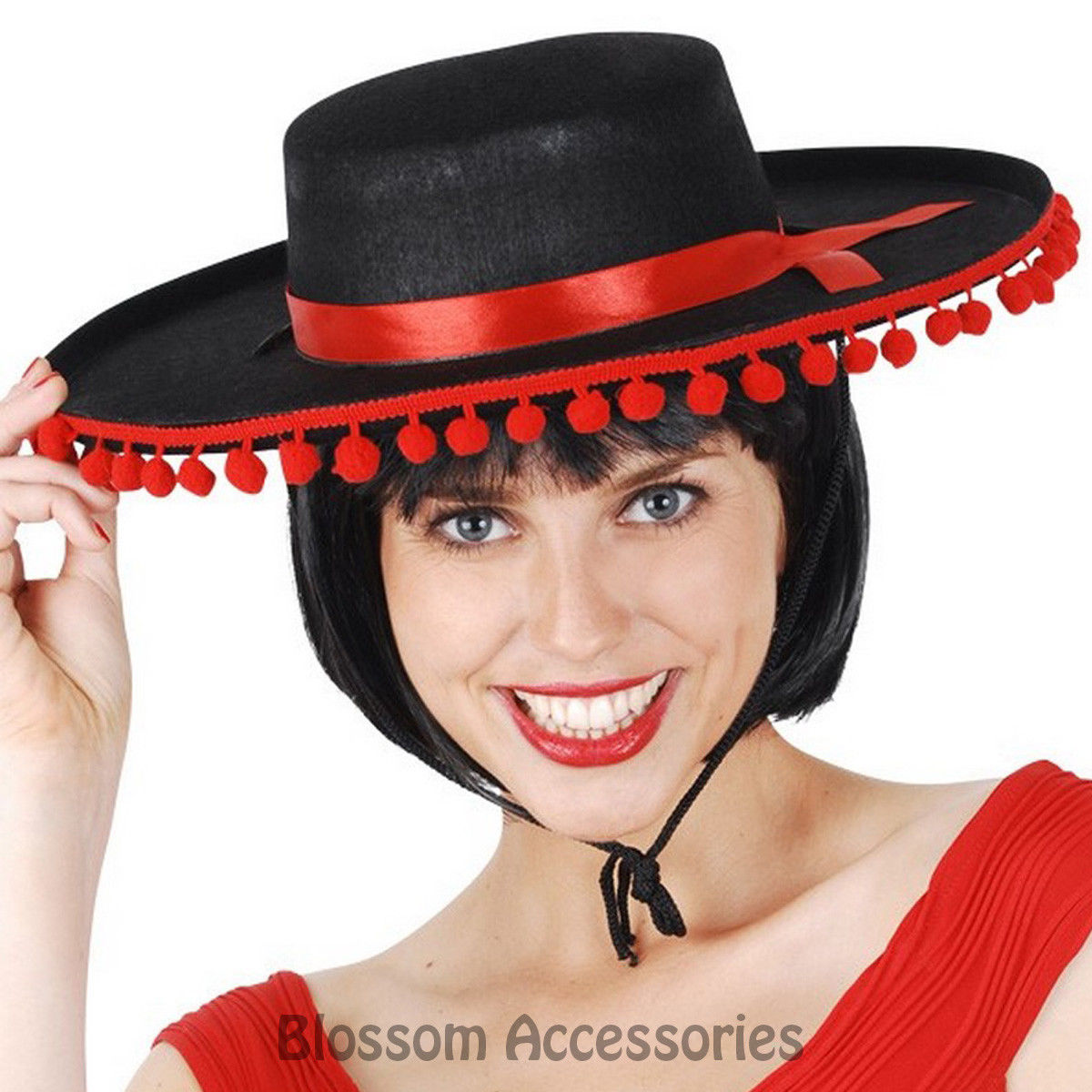 12 5 Aud A794 Mexican Sombrero Felt Hat Party Fancy Dress Fiesta Costume Spanish Red Poms Ebay Fashion Fiesta Costume Spanish Hat Spanish Costume