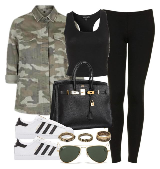 """Style #10814"" by vany-alvarado ❤ liked on Polyvore featuring Topshop, Hermès, adidas Originals, Ray-Ban and Forever 21"