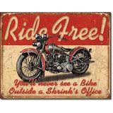 Ride Free Motorcycle Tin Sign