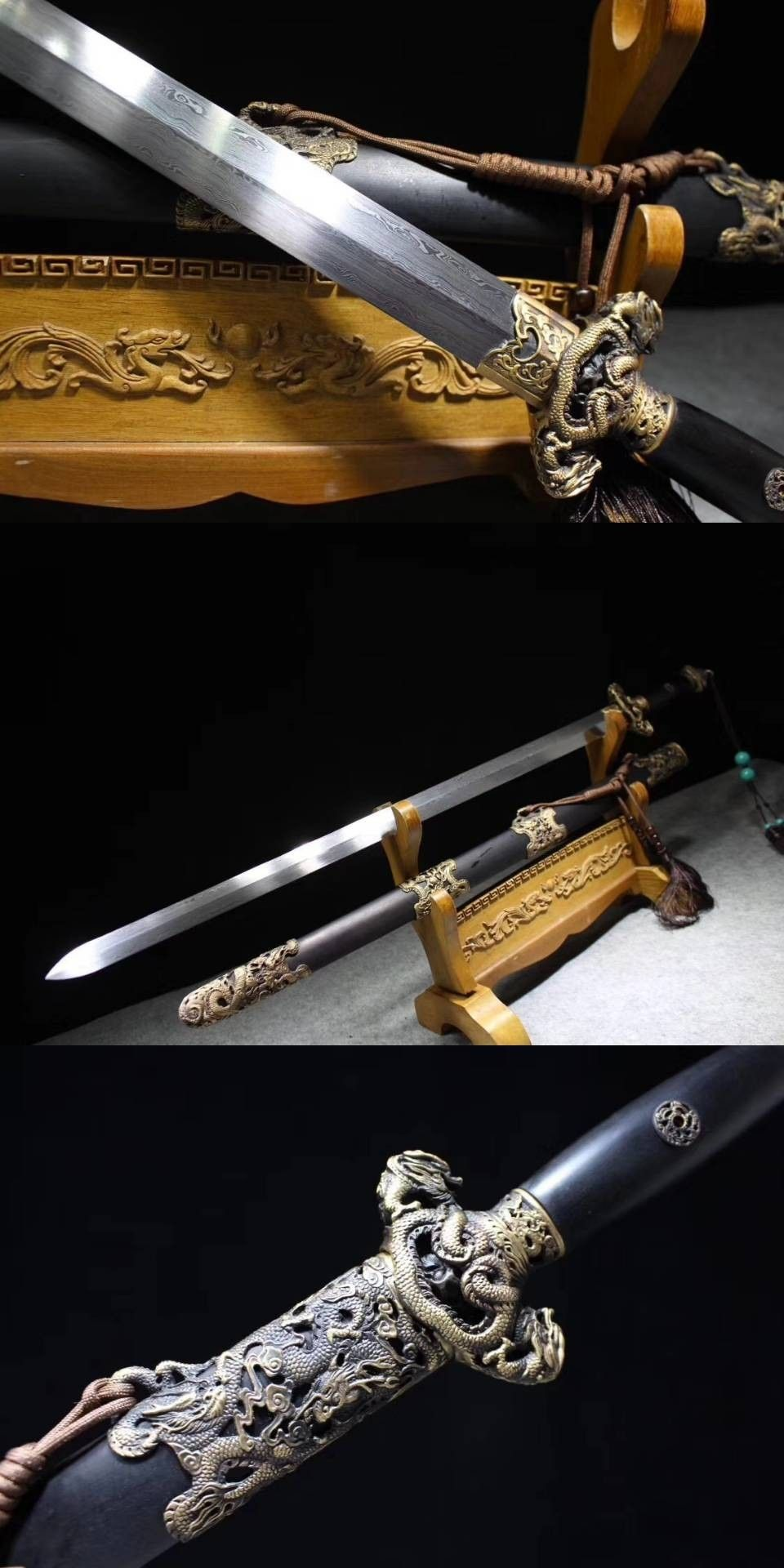 40/'/' Silver Dragon Damascus Folded Steel Ebony Chinese Sword Handmade Qing Jian