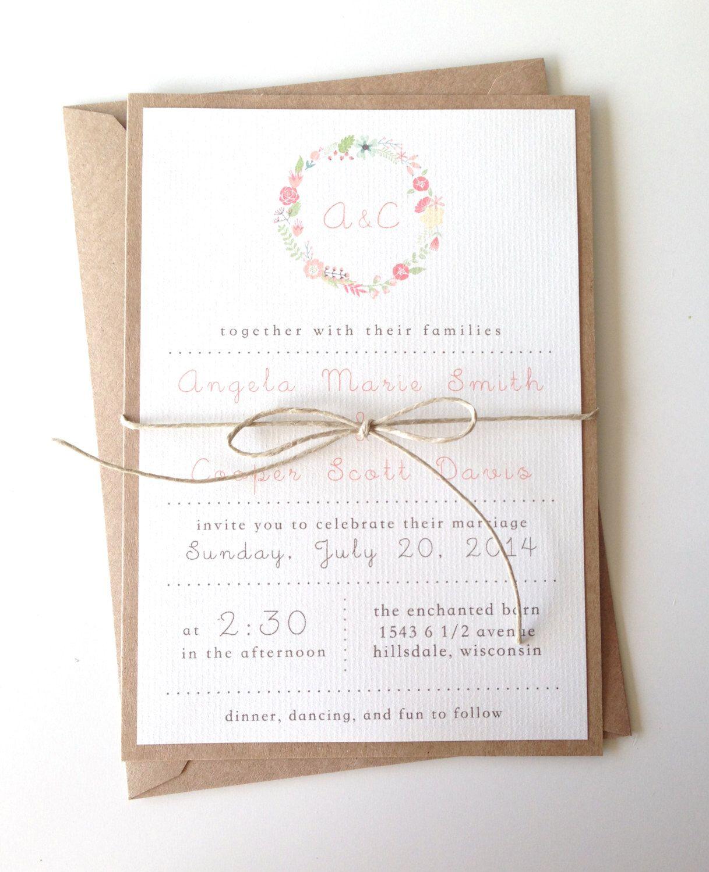 Rustic Floral Wreath Wedding Invitations by LemonInvitations on Etsy ...