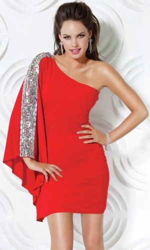 Red One Shoulder Sparkly Short Formal Dresses