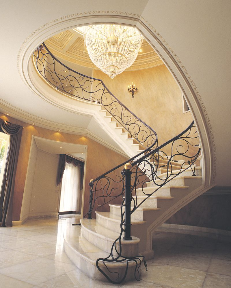 Classy Staircase With Plaster Decoration House Design Foyer
