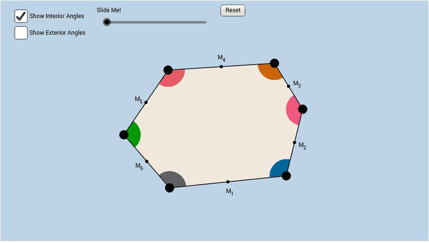 Applet Allows For Students To Discover The Sum Of The Measures Of The Interior  Angles And Sum Of The Measures Of The Exterior Angles Of A Hexagon Using A  ...