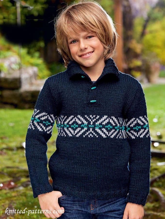 Boy\'s sweater knitting pattern free | Moda niño | Pinterest | Tejido ...