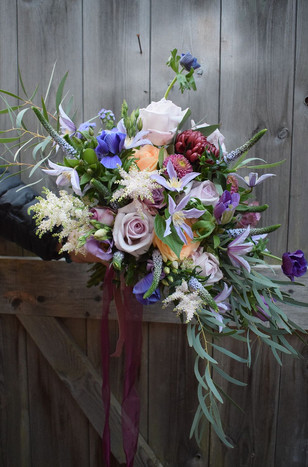 Purple Cascade Bouquet with Purple Ribbon (With images