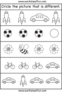 Circle The Picture That Is Diffe Free Printable Preschool And Kindergarten Worksheets