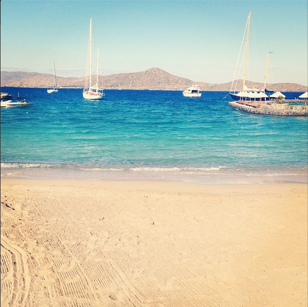 Our travel specialist spent some time on this beautiful private beach at Porto Elounda in Crete - such a beautiful view!