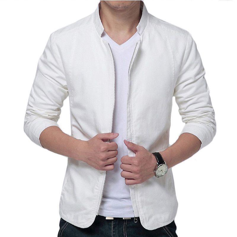 marque blanc veste hommes 2016 design de mode mens slim fit coupe vent veste casual l gant. Black Bedroom Furniture Sets. Home Design Ideas