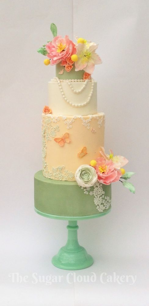 Mint Green, Cream, Pink, and Peach-Colored Cake With Flowers ...
