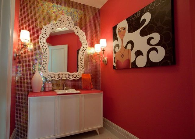 Contemporary Bathroom Decorating And Arrangement Idea Wall Sconces Hot Pink Wall Ladies Room