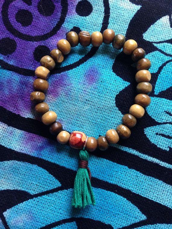 Traditional 27 wooden bead MALA bracelet by HappyHempCrafts