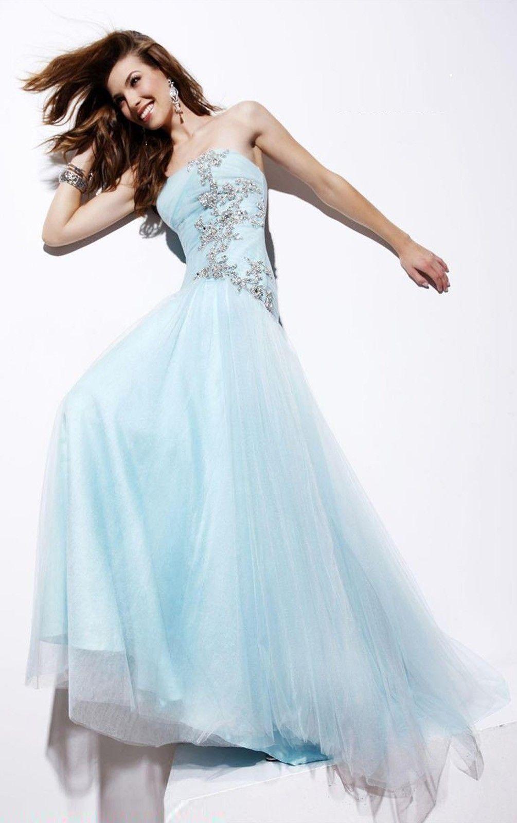 Trendy sheath sleeveless tulle brush train strapless prom dresses
