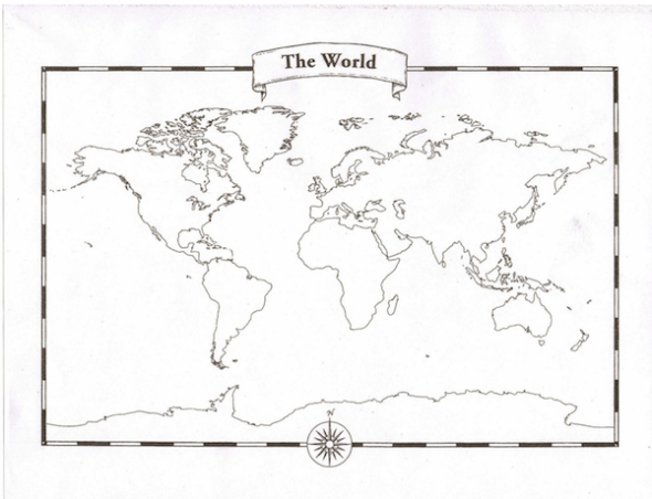 World Map Labels, Printable World Map With Labels Sulphur Paper Your Children Can Tear Off Colour And Label, World Map Labels