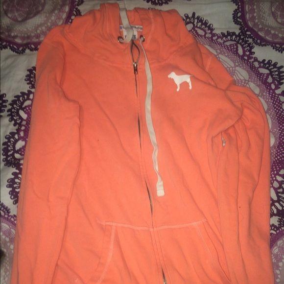 VS PINK coral orangeish hoodie size S VS PINK coral orangeish hoodie size Small! Worn a few times!! PINK Victoria's Secret Tops Sweatshirts & Hoodies