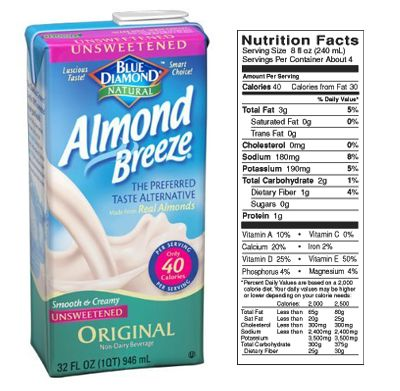 Almond Breeze Milk Nutrition Facts
