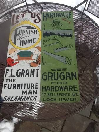 Found These Two On A Craigslist Posting Claimed To Be Antique Ithaca Sign Works Signs Bellefonte Antique Signs Sign Design