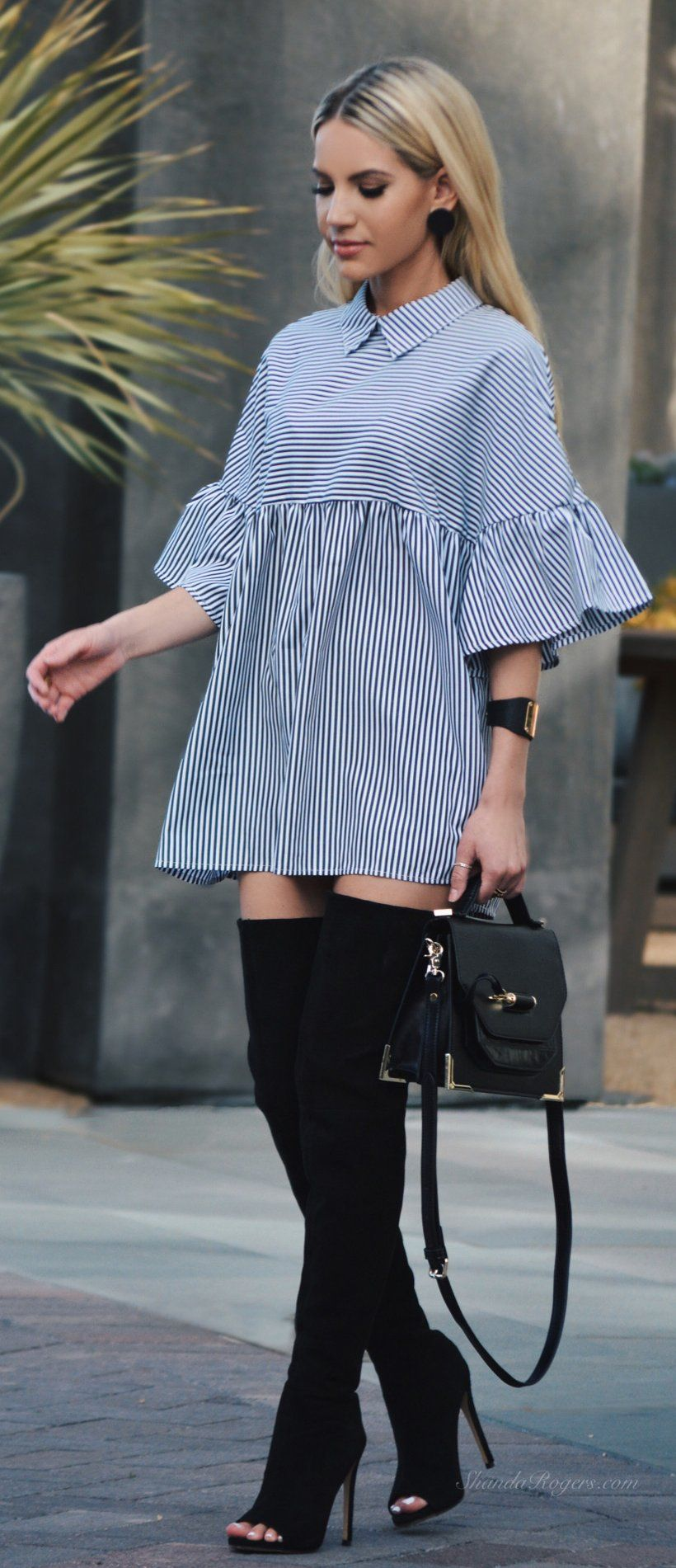Striped Shirt Dress Black Open Toe Otk Boots Thigh High Boots Outfit High Knee Boots Outfit Summer Boots Outfit