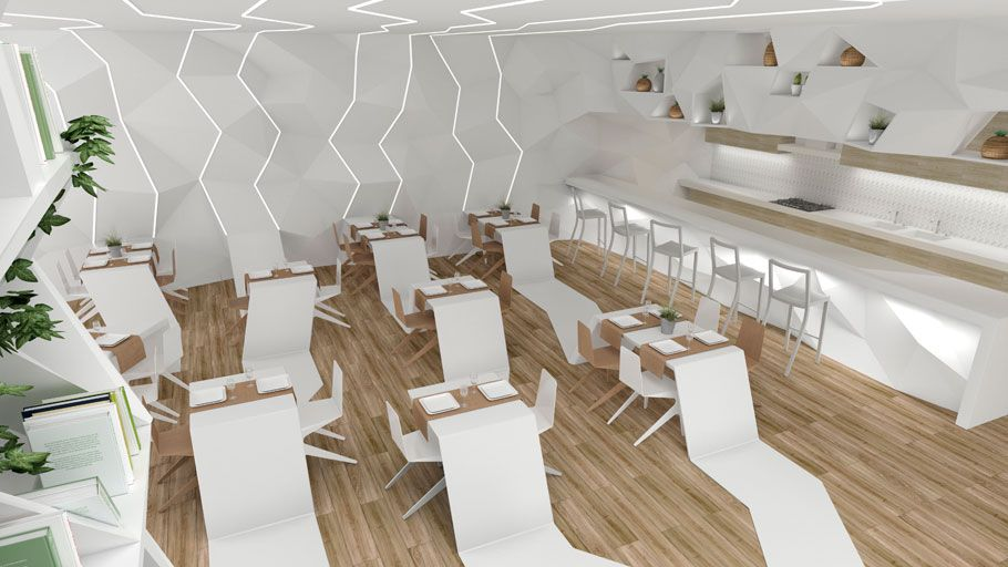 The PORCELANOSA Grupo Award Finalists: The Origami Restaurant By Elena  García Regarding Forward Looking Projects In The Studentsu0027 Category