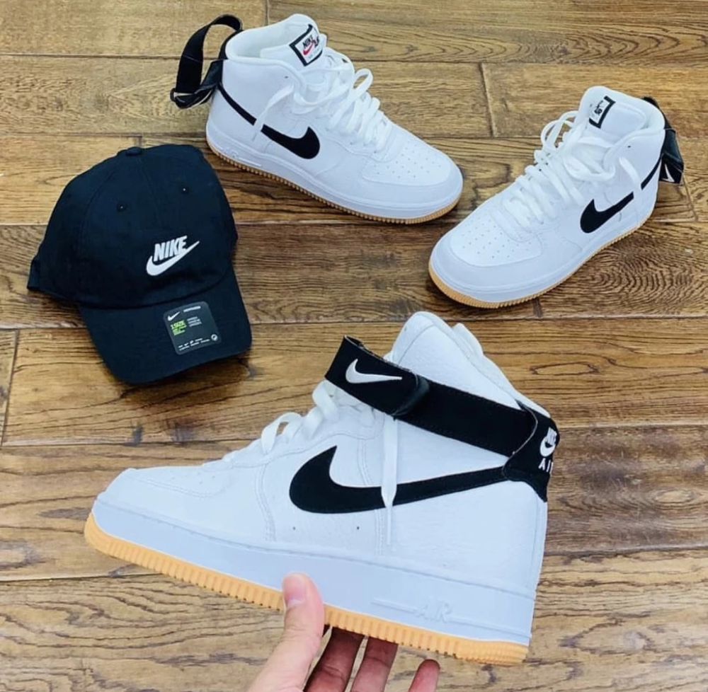 Nike air force 1 high white black gum bottm is part of Nike shoes - NIKE AIR FORCE 1 HIGH  WHITE BLACK GUM BOTTOM MEN SIZES