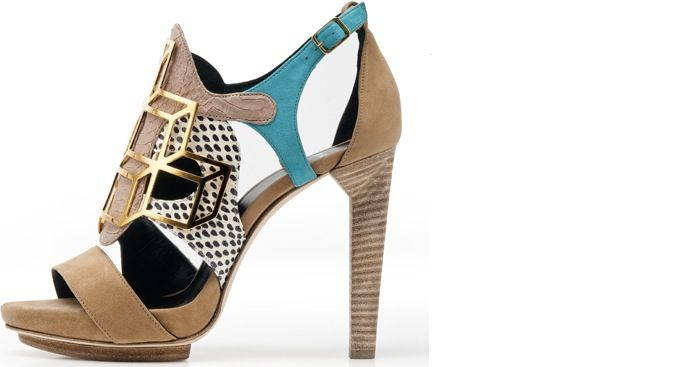 Pierre Hardy Spring/Summer 2012   blue, tan, gold, and neutral snakeskin stiletto heels with gold metal detailing.