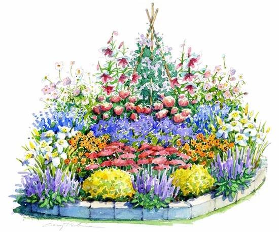 garden illustration #garten #garden Sunny Summer Garden Illustration