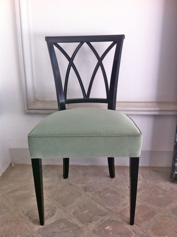 maurice hirsch exceptionnal set of 12 chairs, newly upholstered