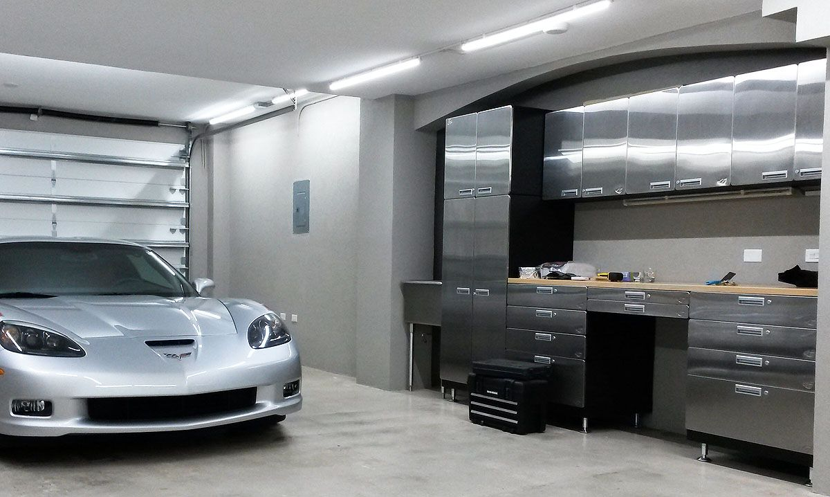 Stainless Steel Cabinet And Workbench Package Garage Cabinets Garage Interior Stainless Steel Cabinets