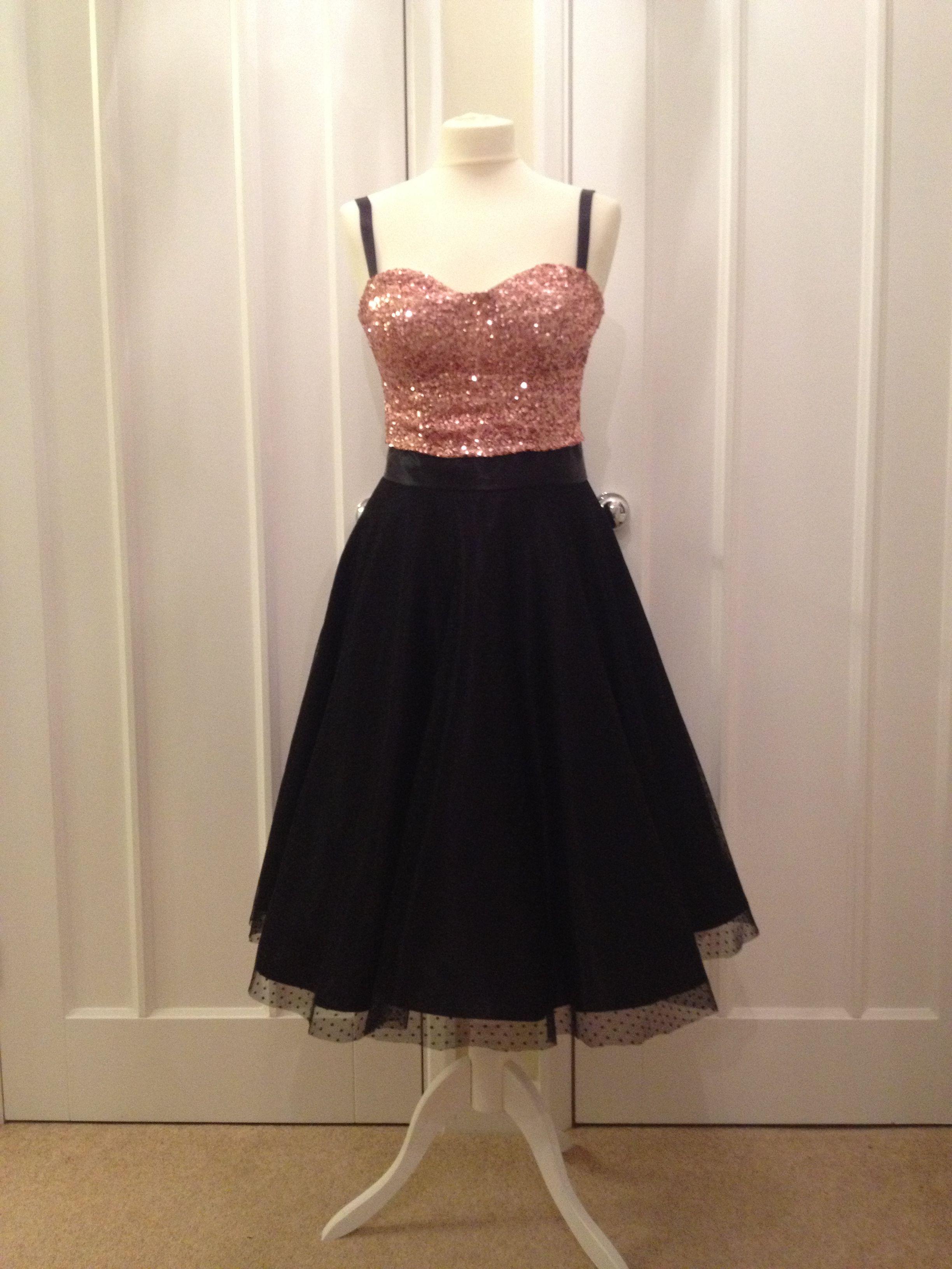f7e9e85b6e Homemade (DIY) cocktail dress- pink sequin top attached to a black circle  skirt