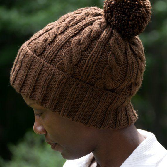 fbaf1fb2f5b Brown Winter Hat With Optional Satin Lining   Add On Pom Pom - Frizz Free  Knit
