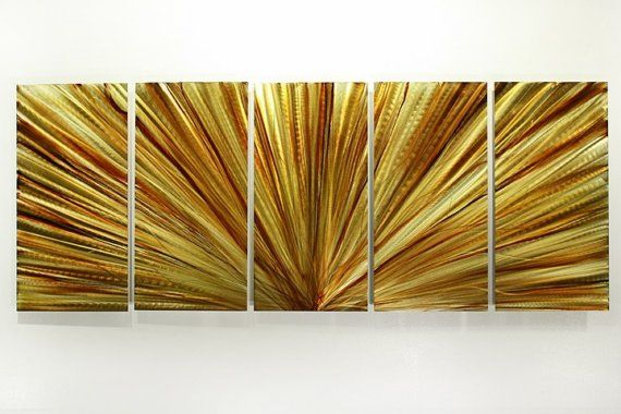 Amber Rays By Jon Allen Https Www Etsy Com Listing 50108163 Hand Painted Metal Abstr Abstract Metal Wall Art Contemporary Wall Sculptures Metal Wall Hangings
