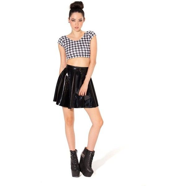 PVC Skater Skirt (£46) ❤ liked on Polyvore featuring skirts, white pvc skirt, pvc skirt, flared skirt, pvc skater skirt and white skater skirt
