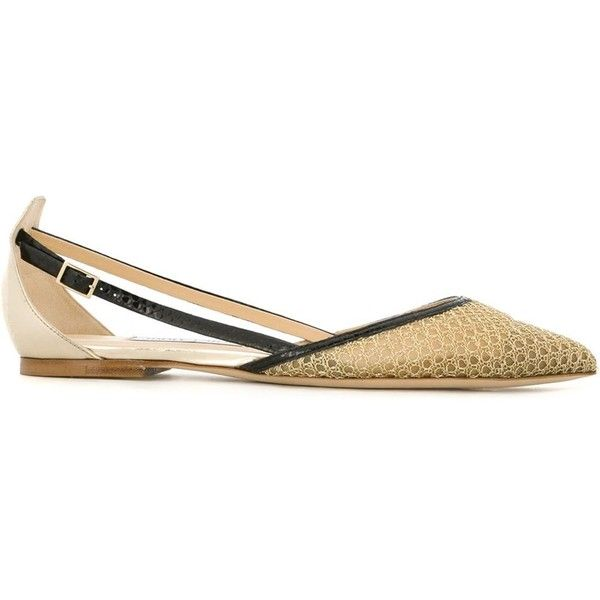 Jimmy Choo 'Vee' ballerinas (£485) ❤ liked on Polyvore featuring shoes, flats, metallic, ballet flats, jimmy choo flats, metallic ballet flats, pointy-toe flats and pointed-toe flats
